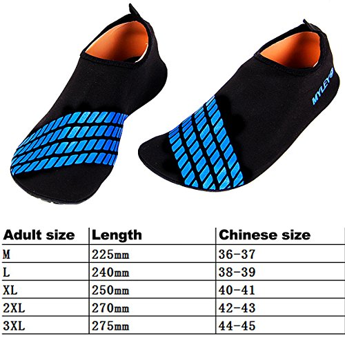 Sasairy Unisex Aqua Schuhe Anti-Rutsch Badeschuhe Wassersport Strandschuhe für Damen/Herren Schwarz + Blau