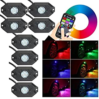 zhiteyou 12 V Off Raod LED-Rock Light RGB Rock Light LED Bluetooth Steuerung  8 Pods RGB LED Auto Rock Light Kits Wireless Handy App Steuerung unter Auto LED Rock