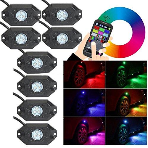 Preisvergleich Produktbild zhiteyou 12 V Off Raod LED-Rock Light RGB Rock Light LED Bluetooth Steuerung 8 Pods RGB LED Auto Rock Light Kits Wireless Handy App Steuerung unter Auto LED Rock