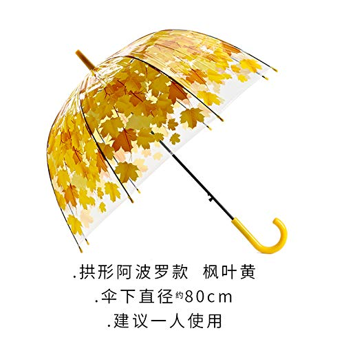 Winddichter Regenschirm Teflonbeschichtung Kompakter Regenschirm Reiseregenschirm UV-Schutzschirm Mini-Regenschirm Straight shank thickening couple men and women arched umbrella yellow arch