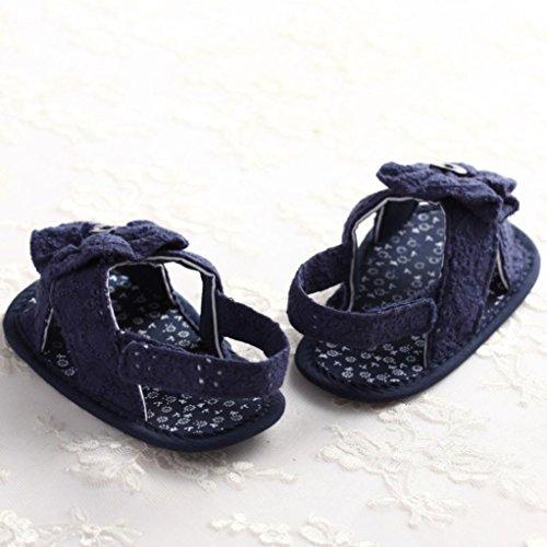 BZLine® Bouton Fleur Sandales en Tissu, Style Souple pour Bébés Princesses 0-18Mois Bleu foncé