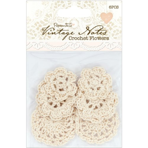 Papermania Vintage Notes Crochet Flowers 6/Pkg (Name Card Scanner)