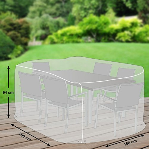 Klassik Schutzhülle für Sitzgruppe rechteckig aus PE-Bändchengewebe - transparent - von 'mehr Garten' - Größe M/L (200 x 160 cm) Rechteckiger Tisch