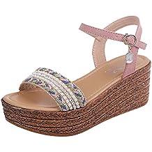 Moda Mujer Casual Crystal Wedge Open Toe Plataformas Sandalias Zapatos De TacóN Alto