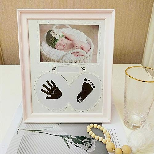 Melodycp Neugeborene Handabdruck Footprint Kit Rahmen für Baby Foto Andenken Beste Dusche Album Geschenke für Mädchen und Jungen (Farbe : Rosa) (Rahmen Kit Dusche)