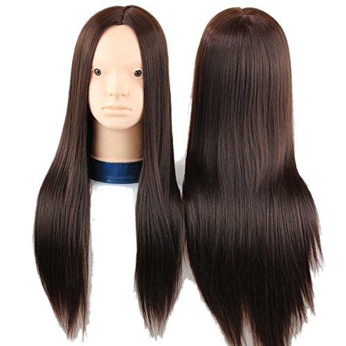 Eseewigs 100% Haute Température Fiber Synthétique Cheveux Synthétique Formation Mannequin pour la Coupe de Cheveux Styling Tressage & Maquillage Pratique Utilisation Professionnelle