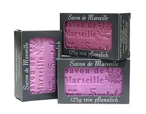 100% Naturseife: 3 x Sandelholzseife à 125 Gr., Seifenset (Savon de Marseille)