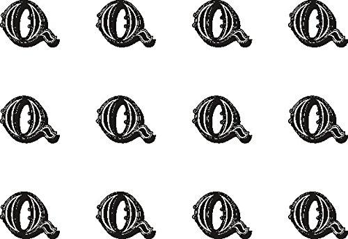 12x Q (Buchstabe) schwarz und weiß 38mm (3,8cm) vorgeschnittenen Essbares Reispapier Cupcake Dekoration # 33