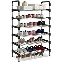 UDEAR Range Chaussures 6 Étages Organisateur de Rangement de Chaussures Noir 56 * 30 * 110 CM