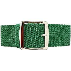 DaLuca Braided Nylon Perlon Watch Strap - Green (Polished Buckle) : 22mm