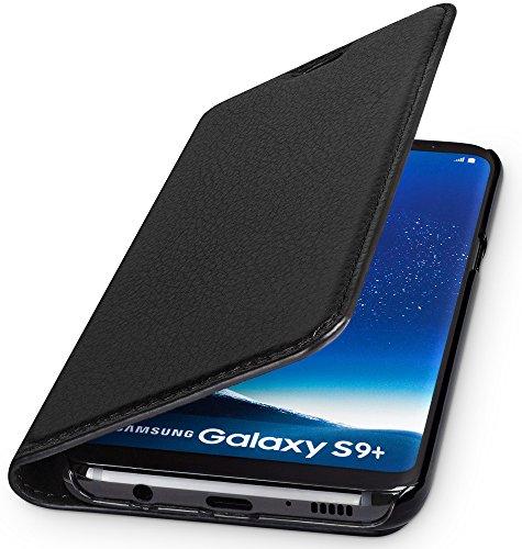 WIIUKA Echt Ledertasche -TRAVEL Nature- für Samsung Galaxy S9+ Plus, Schwarz -DEUTSCHES Leder- mit Kartenfach, extra Dünn, Tasche, Leder Hülle kompatibel mit Samsung Galaxy S9+ Plus