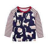 Black Friday Limited Deals Baby Mädchen Jungen Lange Ärmel Karikatur Streifen Katze Kleinkind Kinder Tops Hemd Rot 18M-6T