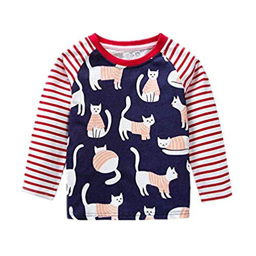 Lange Ärmel Karikatur Streifen Katze Kleinkind Kinder Tops Hemd Rot 18M-6T ()