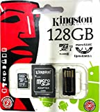 #5: Kingston 128GB MicroSDXC Class 10 with SD Card and USB Adapter (upto 80mbp/s)