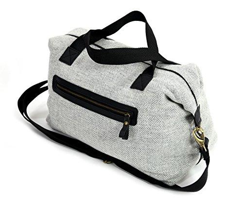 Luxus Tweed Weekender Reisetasche Über Nacht Reisetasche-Silber Grau Fischgrätenmuster British Made -