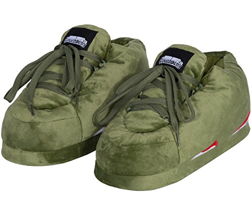 Coucharmy Jay Six Chausson Premium Pantoufles Unisex Home Slippers Sneakers AJ 6 Retro (36-46) Olive/Blanc/Rouge