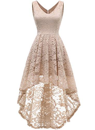 MuaDress 6666 Damen Ärmellose Hi-Lo Lace Formel Brautjungfernkleid Cocktail Party Kleid mit V-Ausschnitt Hellgold XL -