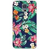Samsung Galaxy S5,S5 Neo,S5 NEW NOVAGO Elegante funda gel de silicona irrompible para Samsung Galaxy S5 ( Flores Azul )