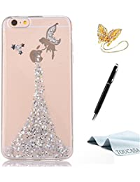 Funda iPhone 8,Funda iPhone 7,TOUCASA® Glitter Brillante Super Delgado y Ligero Transparente TPU Silicona,Suave Gel Protectora Carcasa,Teléfono Smartphone Funda Móvil Case Brillo, Brillante Shock-Absorción Anti-arañazos Brillante Case Ángel Pequeña hada Cover para Apple iPhone 8/iPhone 7-Color Plata