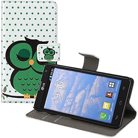 kwmobile Funda chic de cuero sintético para el LG Optimus L9 II con una práctica función de soporte - ¡Diseño búho dormido en verde negro blanco!