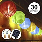 LED Solar Laterne Lichterketten, OFUN 6.5M 30 LED 2 Beleuchtung Modi Wasserdicht Laterne Lichterketten, Solarbetriebene Lichterkette Solar für Outdoor, Party, Garten, Haus Dekoration (Multi-Color)