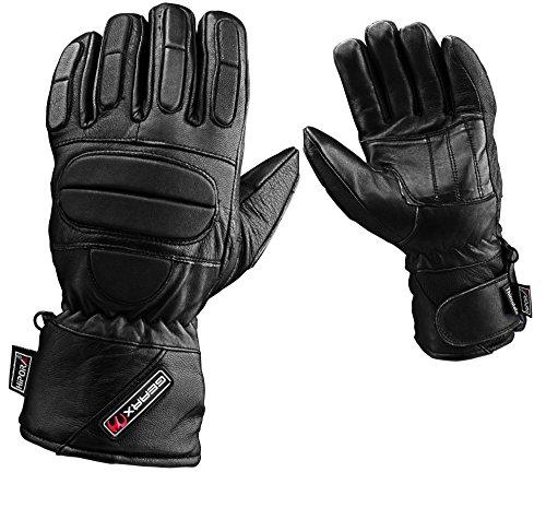 Voll Gepolstert Schutz Leder Motorradhandschuhe Wasserdicht Thermal, L