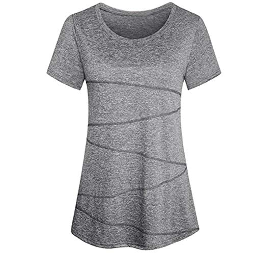 SHOBDW Sommer Herbst Damen Mode Solid Streifen Bluse Kurzarm Yoga Tops Activewear Lauftraining T-Shirt