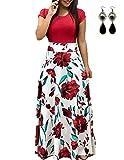UUAISSO Sommerkleid Damen Lang mit Blüte Drucken Lang High Waist Elastische Strandkleider Maxikleider B-rot XL