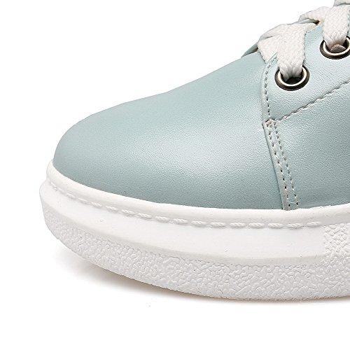 AllhqFashion Damen Gemischte Farbe Pu Leder Rund Zehe Reißverschluss Pumps Schuhe Blau