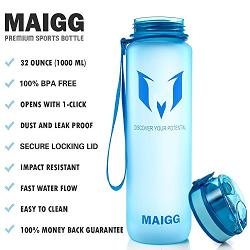 MAIGG Beste Sports Trinkflasche - 500ml & 1000ml - Eco Friendly & BPA-freiem Kunststoff - für das Laufen, Fitness, Yoga, Im Freien und Camping - Schnelle Wasserdurchfluss , Flip Top, öffnet sich mit 1 Blau
