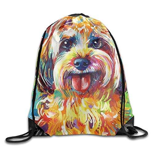uykjuykj Tunnelzug Rucksäcke, Puppy Watercolor Dog Unisex Drawstring Backpack Travel Sports Bag Lightweight Unique 17x14 IN -
