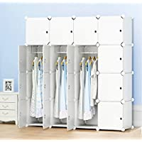 PREMAG Portable Wardrobe for Hanging Clothes, Combination Armoire, Modular Cabinet for Space Saving, Ideal Storage Organizer Cube Closet for books, toys, towels(16-Cube, Extra Stickers Included)
