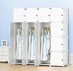 PREMAG Portable Garderobe für hängende Kleidung, Kombischrank, modulare Schrank für platzsparende, Ideale Storage Organizer Cube für Bücher, Spielzeug(16-Würfel, zusätzliche Aufkleber Enthalten)