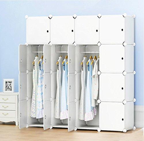 Speicher-modul-system-speicher (PREMAG Portable Garderobe für hängende Kleidung, Kombischrank, modulare Schrank für platzsparende, Ideale Storage Organizer Cube für Bücher, Spielzeug(16-Würfel, zusätzliche Aufkleber Enthalten))