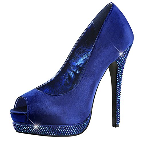 Toe Damen Azul blau Peep Bombas BY0ff