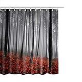 saknn-da Duschvorhang 1 STÜCK Duschvorhang Herbst Bäume Print Polyester Stoff Haken Enthalten Bad Vorhang Wasserdichtes Gewebe Bad Vorhänge