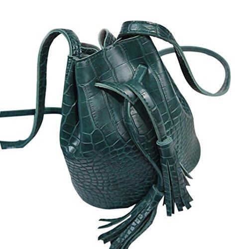 Bucket Bag Donna,Kword Elegante Donna in Pelle Borsetta Crossbody Spalla Messaggero Nappe Borsa Secchio Verde