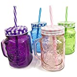 6 X JAM JAR GLASSES MASON HANDLE LID STRAW JUICE DRINK GLASS DRINKING 500ML SET
