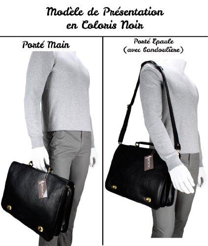 Mon Sac Cuir - Cartable Cuir - 2 Soufflets - Modèle Ilario Camel Foncé