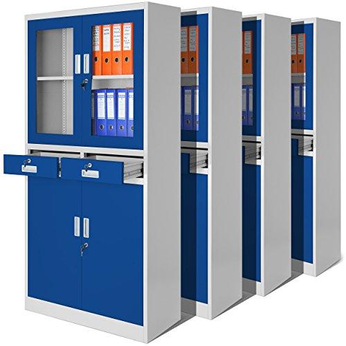 4er Set Aktenschrank C017 mit Flügeltüren aus Glas, mit zwei Schubladen, Medizinschrank, Büroschrank, Stahlschrank, 4 Farben zur Auswahl (grau-blau)