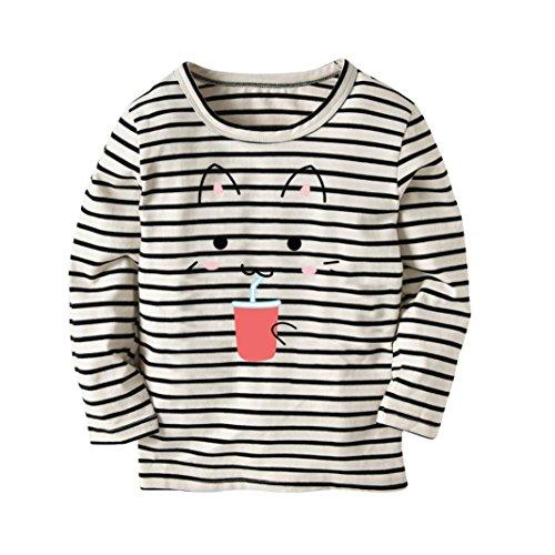 JERFER Karikatur KatzeT-Shirt Tops Neugeborene Babykleidung Kleinkind Bluse Kinderbekleidung Babykleider Mädchen Junge Rundhals Langarmshirts 2-7Jahre (Schwarz, 4T)