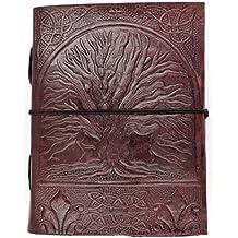 Chic & Zen–Cuaderno/bloque Note/diario, piel auténtica, Vintage, árbol de la vida 13cm x 17cm