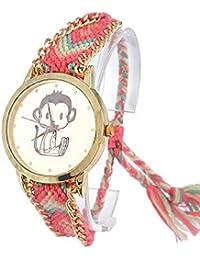 Souarts Monkey Velvet Handmade Adjustable Weave Bracelet Round Wrist Watch Pink