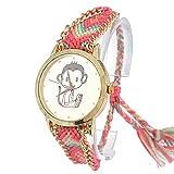 - 51kJabi9xaL - Souarts Colorful Velvet Handmade Adjustable Weave Bracelet Round Wrist Watch