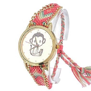 Souarts Colorful Velvet Handmade Adjustable Weave Bracelet Round Wrist Watch