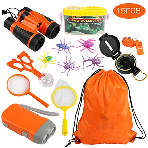 Forscherset, Kinder fernglas 15 Stück Kids Adventurer Explorer Set mit Tragetasche - Fernglas Bug Catcher Taschenlampe für Camping(Orange) ()