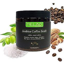 8.8 oz 100% Gommage naturel au café Arabica avec café biologique, beurre de karité et beurre de karité