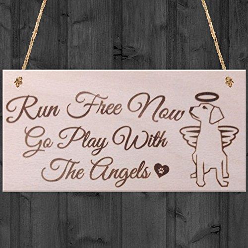 Monsety Rustikal Zitat Schild Zum Aufhängen Schilder für Home Decor Run Free Now go Play mit Die Engel Hund Gedenktafel Pet Holz Willkommen Schilder