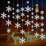 Turelifes 72 Stück 5 Größen Weiß Weihnachten Schneeflocken Dekorationen Kunststoff Glitzer...