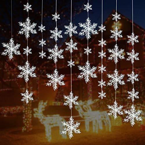 5 Größen Weiß Weihnachten Schneeflocken Dekorationen Kunststoff Glitzer Schneeflocken Weihnachtsbaum Ornamente Hängedeko für Urlaub Party ()
